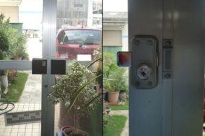 愛知県名古屋市北区 事務所ドアの防犯対策 「1ドア2ロックでさらに防犯性が高まりました。」面付け補助錠取付工事会社【株式会社サッシ.NET】