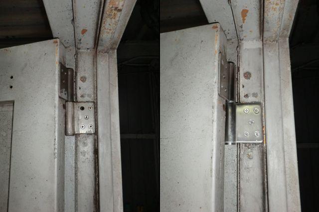愛知県愛西市 ドア改修「3カ所吊りになりしっかりとドアを支えることができる様になりました。」工事店 スチールドア丁番修理工事【株式会社サッシ.NET】
