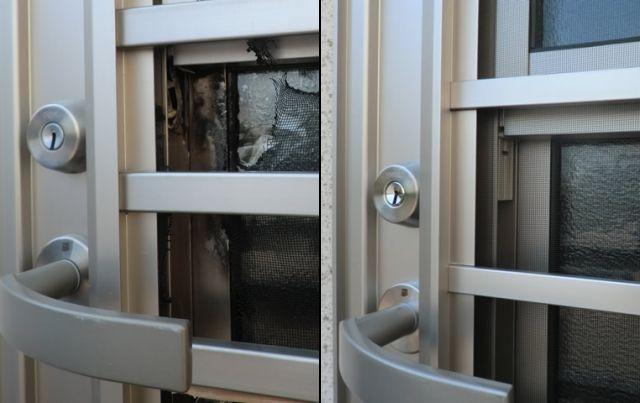 愛知県一宮市 空き巣被害 ドアリフォーム工事店 「空き巣被害で壊されてしまったとの事でした。」YKKap 勝手口通風ドア取替工事【株式会社サッシ.NET】