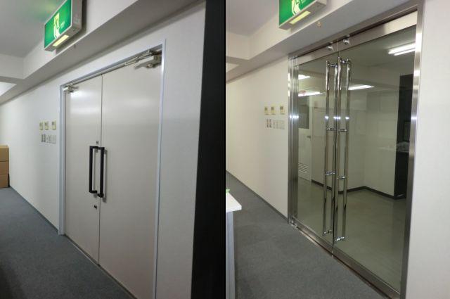 愛知県名古屋市 事務所 ドアリフォーム工事店 「テンパードアとは、強化ガラスでできたドアを指します。」テンパドア取替工事【株式会社サッシ.NET】