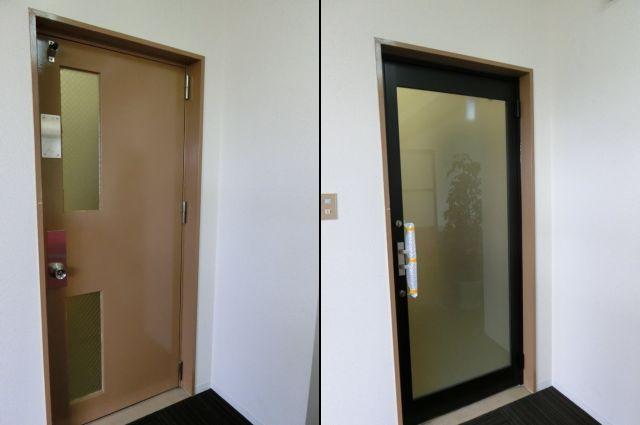 愛知県名古屋市 事務所 ドアリフォーム「左の写真が既設、右の写真が取替後です。」工事店 ガラス扉取替工事【株式会社サッシ.NET】