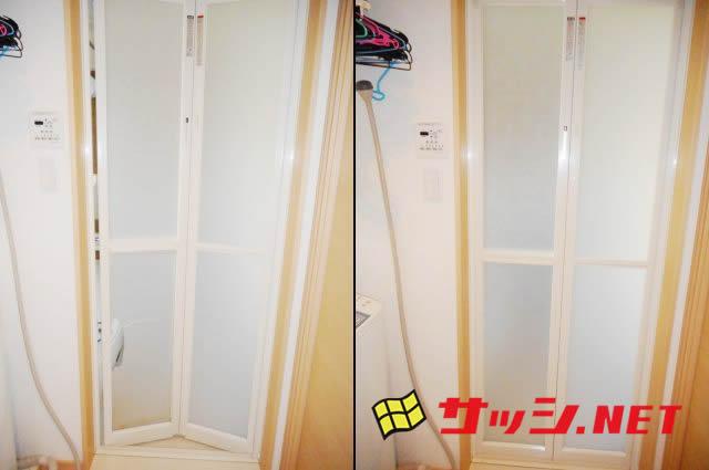 愛知県日進市 浴室ドア「綺麗に直してくれたので湿気も気にならなくなりました!」工事店 中折れドア樹脂パネル交換工事 INAX 【株式会社サッシ.NET】