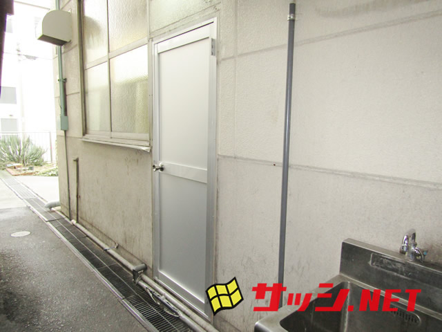 愛知県名古屋市天白区 工場 ドアリフォーム「工場のドア取替工事を行いました。」工事店 リクシル(LIXIL)アルミドア工事会社【株式会社サッシ.NET】